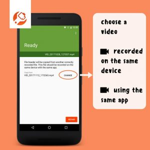how to choose correctly recorded file - screenshot from MP4Fix App