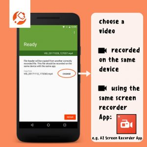 how to choose correctly recorded screen recorder file screenshot from MP4Fix App